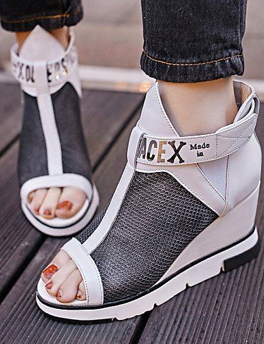Casual Wedge ShangYi Toe Heel Leatherette Black White Wedges Shoes Tulle Women's Sandals Black Peep vqAHB