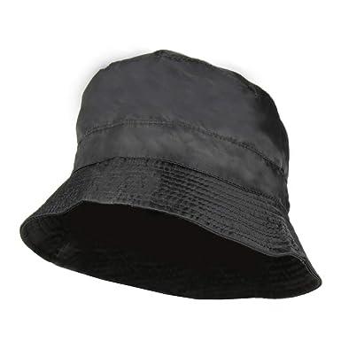 70f4bcaf9 Black Waterproof Packable Rain Bucket Hat, Zip Pocket - Foldable ...