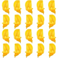Yardwe New 20pcs Quail Waterer Pigeon Water Fountain Bowl Sturdy Screw Install Water Bowl Plastic Bird Pet Water Drinker for Home Pet Store Veterinary Hospital Zoo Use Yellow