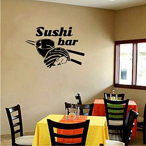 LSFHB Wall Stickers Vinyl Decal Japanese Sushi Chef Food Oriental Restaurant Japanese Food for Kitchen Sushi Bar 60X42Cm ()