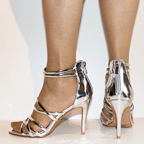 ROCK ON Styles Nuevo Mujer Fiesta Charol CROMO tiras en Tobillo Tacón Medio Zapatos Sandalias size-06-9 Plateado