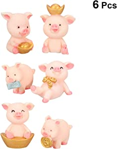 Garneck 6pcs Cute Piggy Car Dashboard,Cartoon Pig Figurines,Resin Pig Cake Decorations,Pig Sculpture Rich Pig Statue Miniature Landscape Bonsai Ornament Radom Pattern