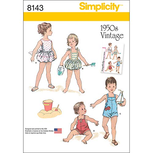 - Simplicity Vintage 8143 Vintage Playsuit Baby Clothes Sewing Pattern, XXS-L