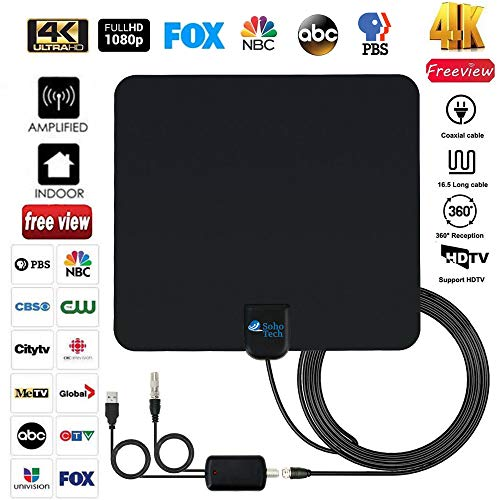 Antenna TV Digital HD indoor - 2019 Newest Digital Antenna for HDTV 120 Miles Range, Support 4K 1080p, HDTV Antenna indoor with 18ft Coax Cable, TV Antennas for Digital tv indoor, Best One by SohoTech ()