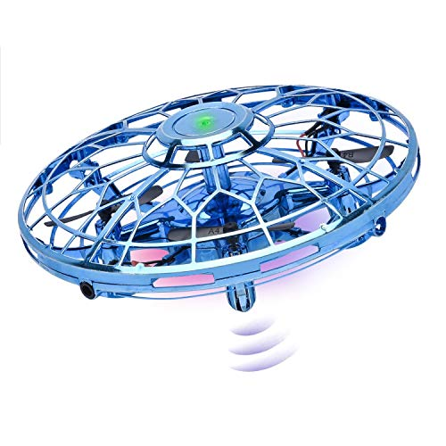 Hand Operated Drones for Kids or Adults, Upgraded Flying Toy Mini Drone Helicopter with 360° Rotating and LED Lights, Hand Controlled Flying Ball Toys for Boys or Girls