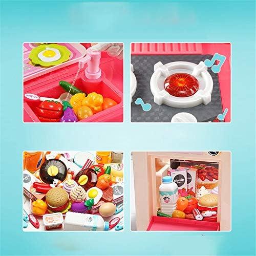 キッチン おもちゃ おままごと 現実的なライトサウンドプレイセットアクセサリーセットを持つ大規模なプラスチック製のプレイキッチン 女の子 男の子 家事 ごっこ遊び 知育玩具 (Color : Pink, Size : Height 75cm)