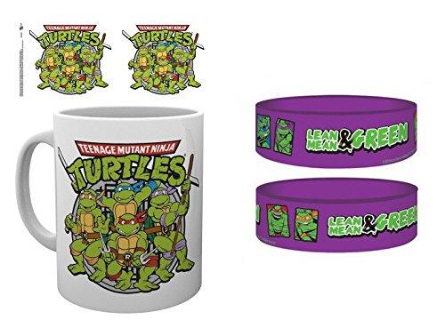 1art1 Set: Teenage Mutant Ninja Turtles, Retro Photo Coffee Mug (4x3 inches) and 1 Teenage Mutant Ninja Turtles, Wristband for Collectors (2x1 inches)