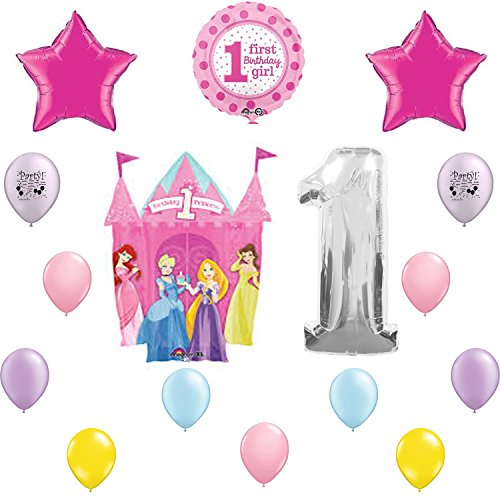 Disney Princess First 1st Birthday Party Supplies and Balloon Decorating Kit