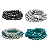 Freshwater Cultured Baroque Dyed Black, Dyed Gray, Dyed Teal Blue and White 5-Piece Bracelet Set