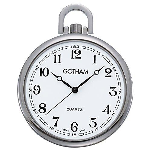 (Gotham Men's Silver-Tone Slim Railroad Open Face Quartz Pocket Watch # GWC15028SA)