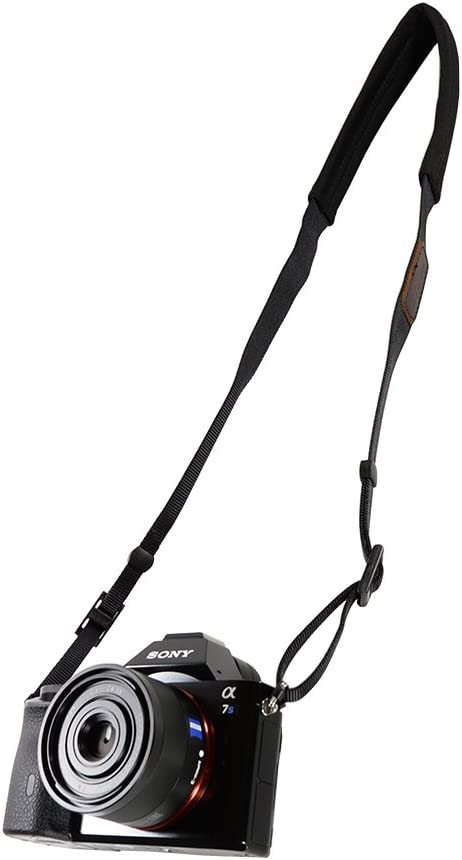 Foto/&Tech Padded Neck Shoulder Strap with Gray Grosgrain Ties Compatible with Fujifilm Samsung Sony Olympus Panasonic Canon Nikon Pentax Compact Cameras Point and Shoots Cameras