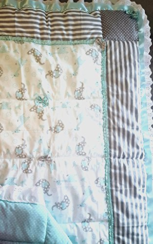 Grey and Green Baby Animals Quilt by My Designer Baby Bed