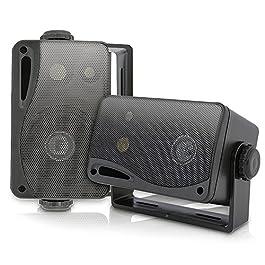3-way Mini Box Speaker System – 3.5 Inch 200 Watt Weatherproof Marine Grade Mount Speakers – in a Heavy Duty ABS…