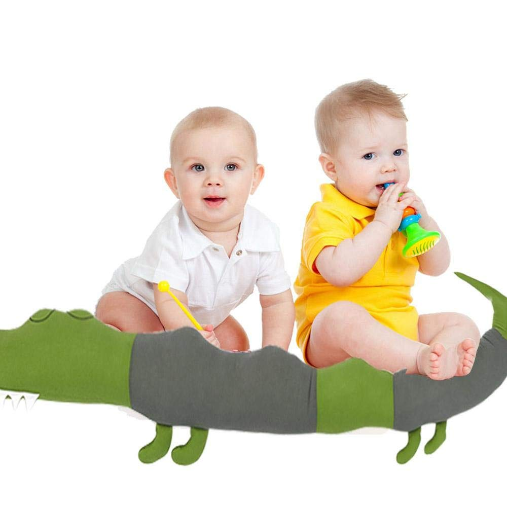 Green Cot Bumper Soft Baby Bed Rails Cushion Pillow Sleeping Toys Crocodile Big Hugging Pillow Toy BOLLAER Bed Bumpers for Toddlers
