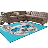Yorkie,Carpet,Yorkshire Terrier Portrait with Cool Mirror Sunglasses Hand Drawn Cute Animal Art,Living Dinning Room and Bedroom Rugs,Blue White Size:5'x6'