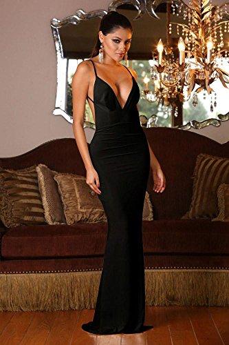 Gabriela Boutique - Vestido largo de señora con escote pronunciado en V y espalda abierta, para pole dance, salidas nocturnas, graduaciones o cócteles, talla 38 - 40, color negro