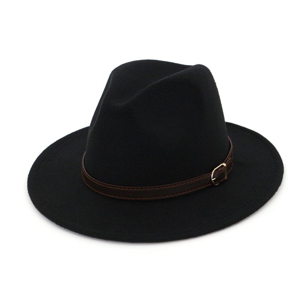 AOBRITON Autumn Winter Hats Women Men Fedora Jazz Hats Buckle British Gentleman Hat
