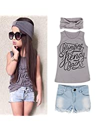 FEITONG 1Set Kid Girls Vest Top Clothes+Jeans Pants Shorts+Scarf Suit Outfit