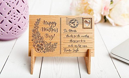 Antique Keepsakes Grandmas - Qualtry Personalized Wooden Postcard for Mom with Display Holder Stand - Great for Mom and Grandma (Josh Heart Design)