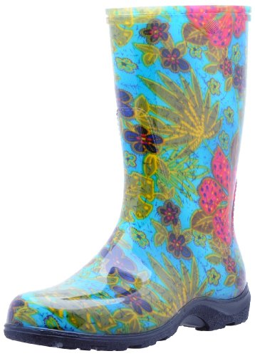 Sloggers  Women's Waterproof Rain and Garden Boot with Comfort Insole, Midsummer Blue, Size 6, Style 5002BL06 (Cad Block Garden Furniture)