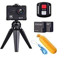 NZACE H9R Sports Action Camera Wifi Waterproof Sports DV Camcorder Full HD 4K 1080P 720P Video Camera 12MP Photo and 170 Wide Angle Lens 2 inch LCD Screen/2.4G Remote Control - Black