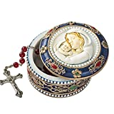 "Fashiocraft Madonna and Child Rosary Box - 2.75"" Trinket Box for Rosary Beads, Keepsakes, Small Jewelry and Mementos"