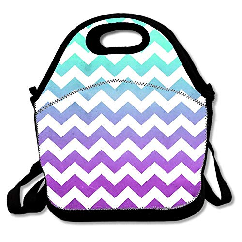 Purple Mint Aqua Ombre Chevron Pattern Neoprene Reusable Insulated Lunch Tote Bag School Picnic Thermal Carrying Gourmet Lunchbox Container Organizer For Women, Adults, Kids, Teens, Girls -