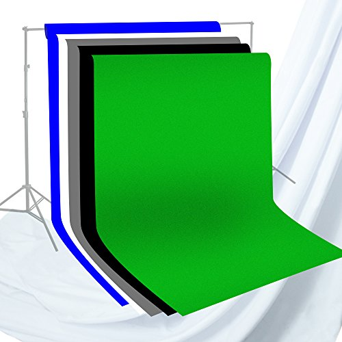 Julius Studio 6 x 9 ft. Photo Studio Chromakey Background Muslin Backdrop Bundle Kit, Black, White, Blue, Green, Gray, Premium Quality Fabric Material, Wrinkle Resistant, Photo Video Studio, JSAG227