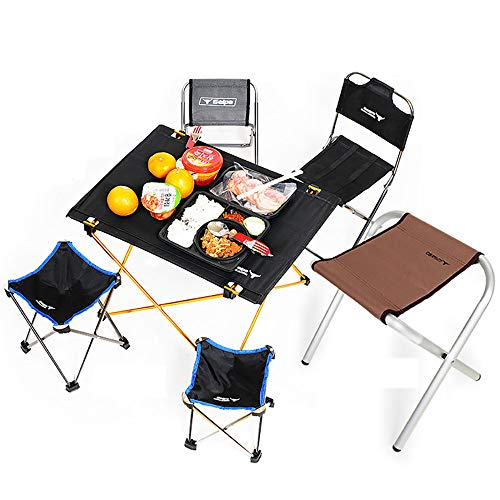 - QJJML 4-Person Folding Picnic Table, Aluminum Folding Table, Easy to Clean, Picnic Light, Camp, Beach, Barbecue, Hiking, Travel, Fishing, Outdoor Table and Chair Stool Set,57×42×39CM