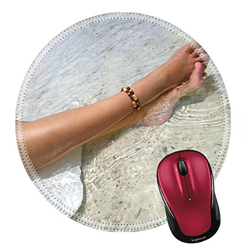 Liili Round Mouse Pad Natural Rubber Mousepad Pretty legs on sun lounger on Caribbean beach Photo 35511