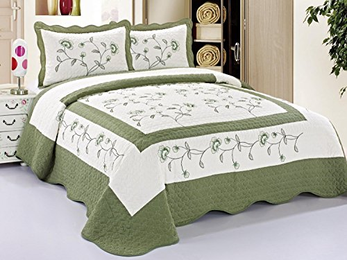 "3pc Nice Design 102x94"" Beige / Sage Green Fully Quilted Emb"