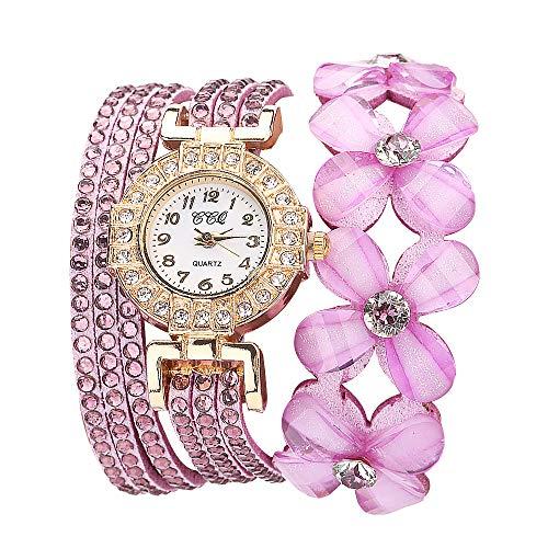 (Flowers Geneva Watches Fashionable Stylish Quartz Bracelet Ladies Diamond Watch Outsta for Girls Women Gift Holiday Present (Pink))