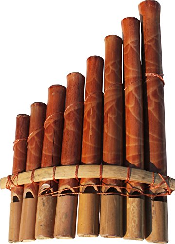 RaanPahMuang Thai Crafted Wooden Bamboo Pan Flute Pan Pipe Syrinx 8 Notes