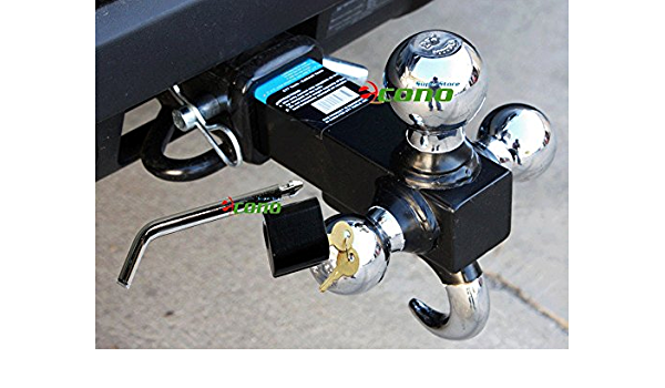 2 Shank with 5//8 inch dia Three Chrome Balls x 3.5 inch Span Hitch Lock TOPTOW 64180HL Trailer Receiver Hitch Triple Ball Mount with Hook Fits for 2 inch Trailer Hitch Receiver Chrome Tow Hook