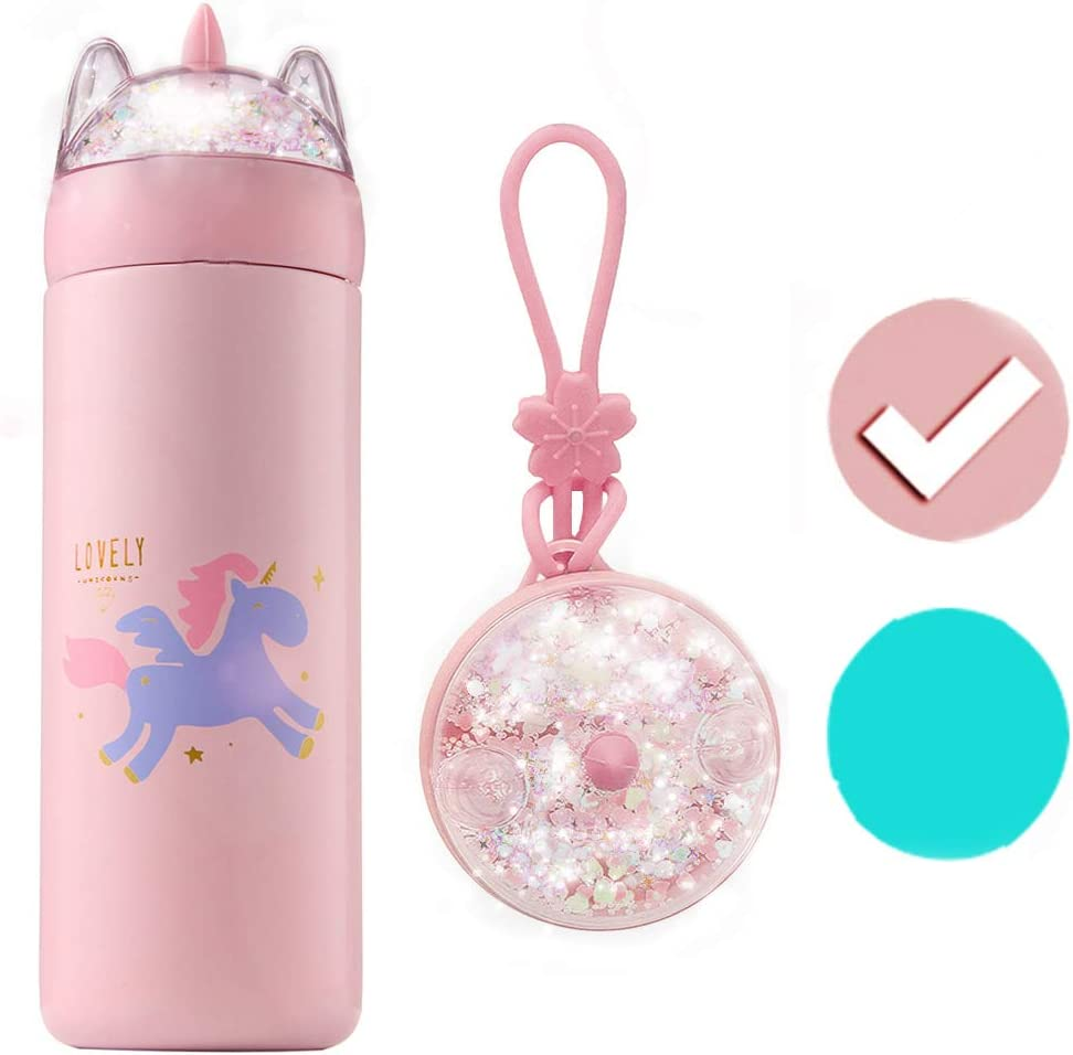 KINIA 12 Oz Unicorn Glitter 18/8 Stainless Steel Double Wall Vacuum Insulated Kids Water Bottle ~ Leak Proof with BPA Free Multi-Color Sparkling Glitter Top (Unicorn Pink)