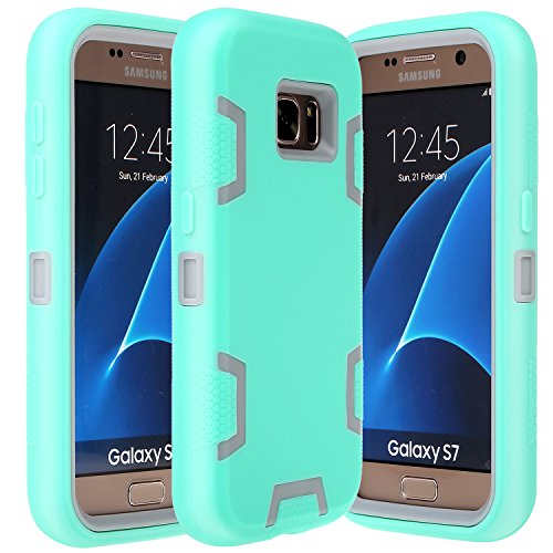 Galaxy S7 Case, E LV Samsung Galaxy S7 - Hybrid Defender Rugged Shockproof Dirtproof Case Cover for Samsung Galaxy S7 - [Mint/Grey]