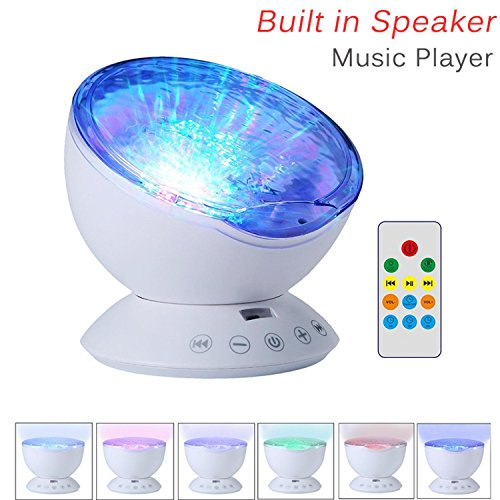 Multicolor Ocean Wave Night Light Projector, Remote Control & Built-in Speaker, 7 Color Night Light with Music Player (White)