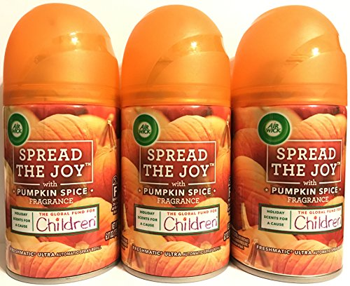 Air Wick Freshmatic Ultra Automatic Spray Refill - Spread The Joy - Winter Collection 2017 - Pumpkin Spice - Net Wt. 6.17 OZ (175 g) Per Refill Can - Pack of 3 Refill Cans