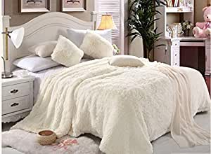 Comfy Luxe Faux Fur 6pcs Soft Blanket Set,King Size - White