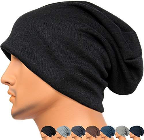 (Rayna Fashion Men Women Summer Thin Slouchy Long Beanie Hat Cool Baggy Skull Cap Stretchy Knit Hat Lightweight)
