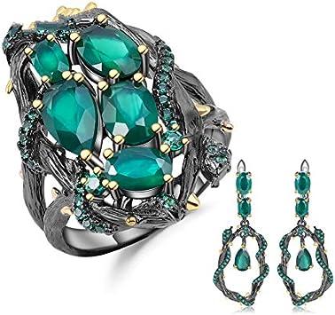 AdronQ® - Juego de joyas hechas a mano de plata de ley con piedras de ágata verde natural, juego de pendientes hechos a mano de plata de ley 925 para mujer