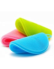 Outtills Silicone Sponge (3 Pack) Plus Bonus - Food Grade Reusable Sponges for Dishes - Dishwasher Safe, Heat Resistant and Without BPA - Double Sided Silicon Brush - Dish Scrubber - 3 Colors
