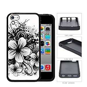 Floral Sketch Drawing Black And White Rubber Silicone TPU Cell Phone Case Apple iPhone 5c