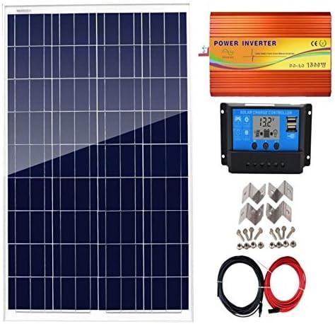 AUECOOR Solarpaneel-Set, 100 W, 12 V, 30 A Laderegler + 1500 W Wechselrichter für 12 Volt Batteriesystem