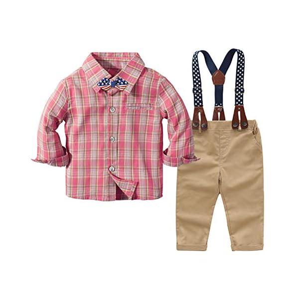 Yilaku Vestiti per Neonati Camicia a Quadri + Papillon + Bretelle + Pantaloni 4Pcs Ragazzi del Bambino Bambini Abito da… 1