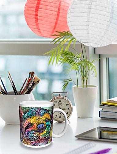 Dean Russo Sloth Modern Animal Art Ceramic Gift Coffee Tea Cocoa (11 Oz C Handle Ceramic Mug) -