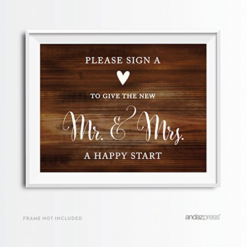 Andaz Press Wedding Party Signs, Rustic Wood Print, 8.5x11-inch, Please Sign a (Hearts Table Sign)