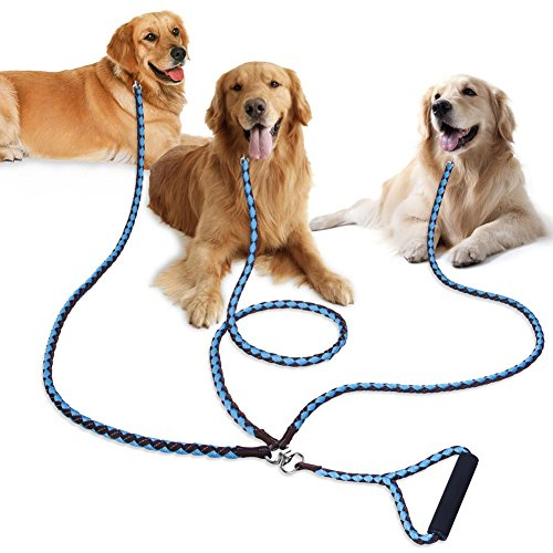 3 Dog Leash, PETBABA 4.6ft Reflective Braided Rope Coupler Heavy Duty Multi Way Lead Splitter with Soft Padded Handle to Control Three Doggy Multiple Big Pet for Walk Training in Brown-Light Blue by PETBABA
