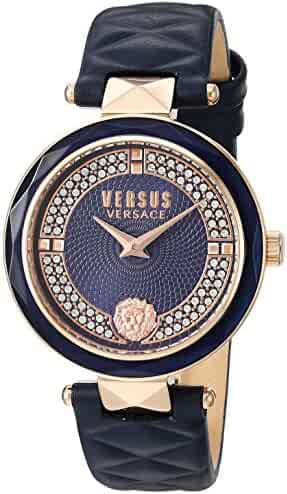 Versus by Versace Women's 'COVENT GARDEN CRYSTAL' Quartz Stainless Steel and Leather Casual Watch, Color Blue (Model: VSPCD2817)