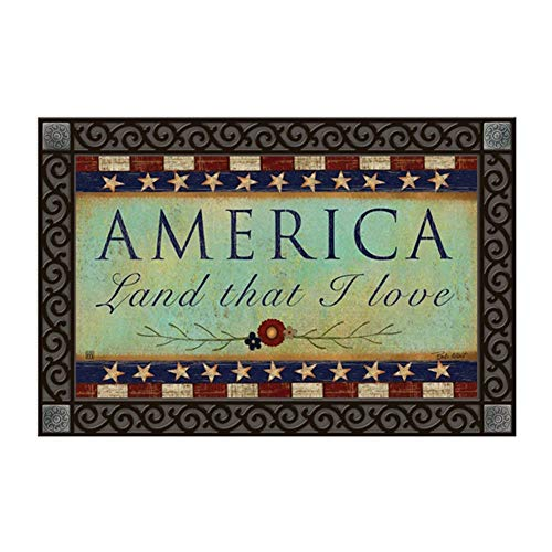 Studio M MatMates Primitive America Patriotic Country Decorative Floor Mat Indoor or Outdoor Doormat with Eco-Friendly Recycled Rubber Backing, 18 x 30 Inches